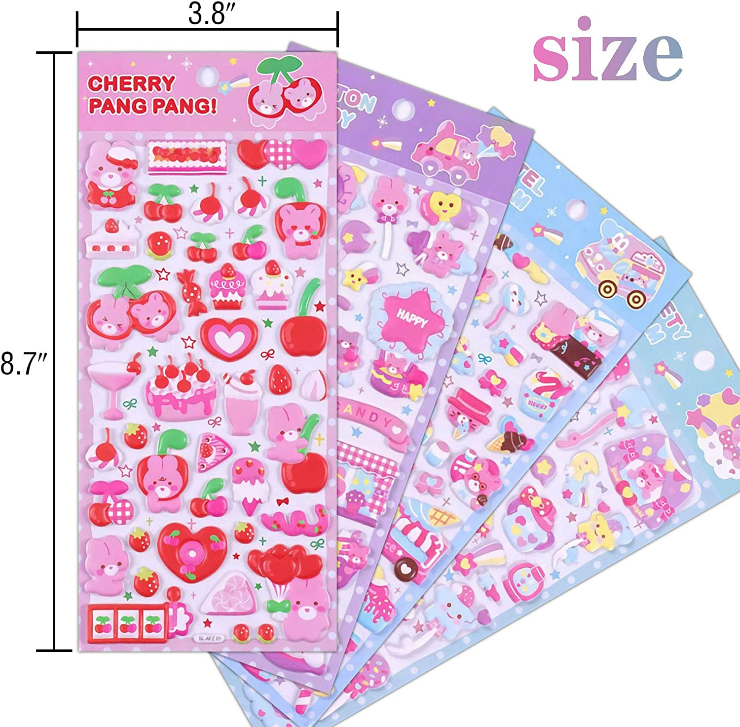 3D Puffy Sticker for Kids Girls Foam Animal Bear Heart Stickers for Girls Valentines Day Gift Bulk Scrapbooking Reward Birthday Gift Kids Stickers 4 Different Sheets Party Supplies