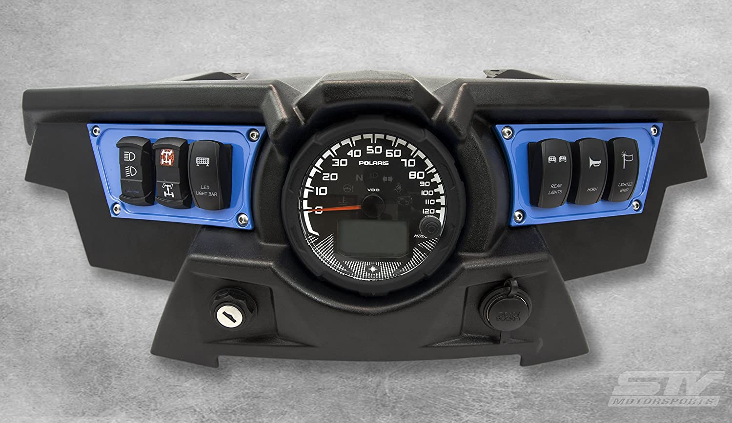 STV Motorsports Custom Aluminum Blue Dash Panel for Polaris RZR XP 1000 with 4 Laser Rocker Switches Included