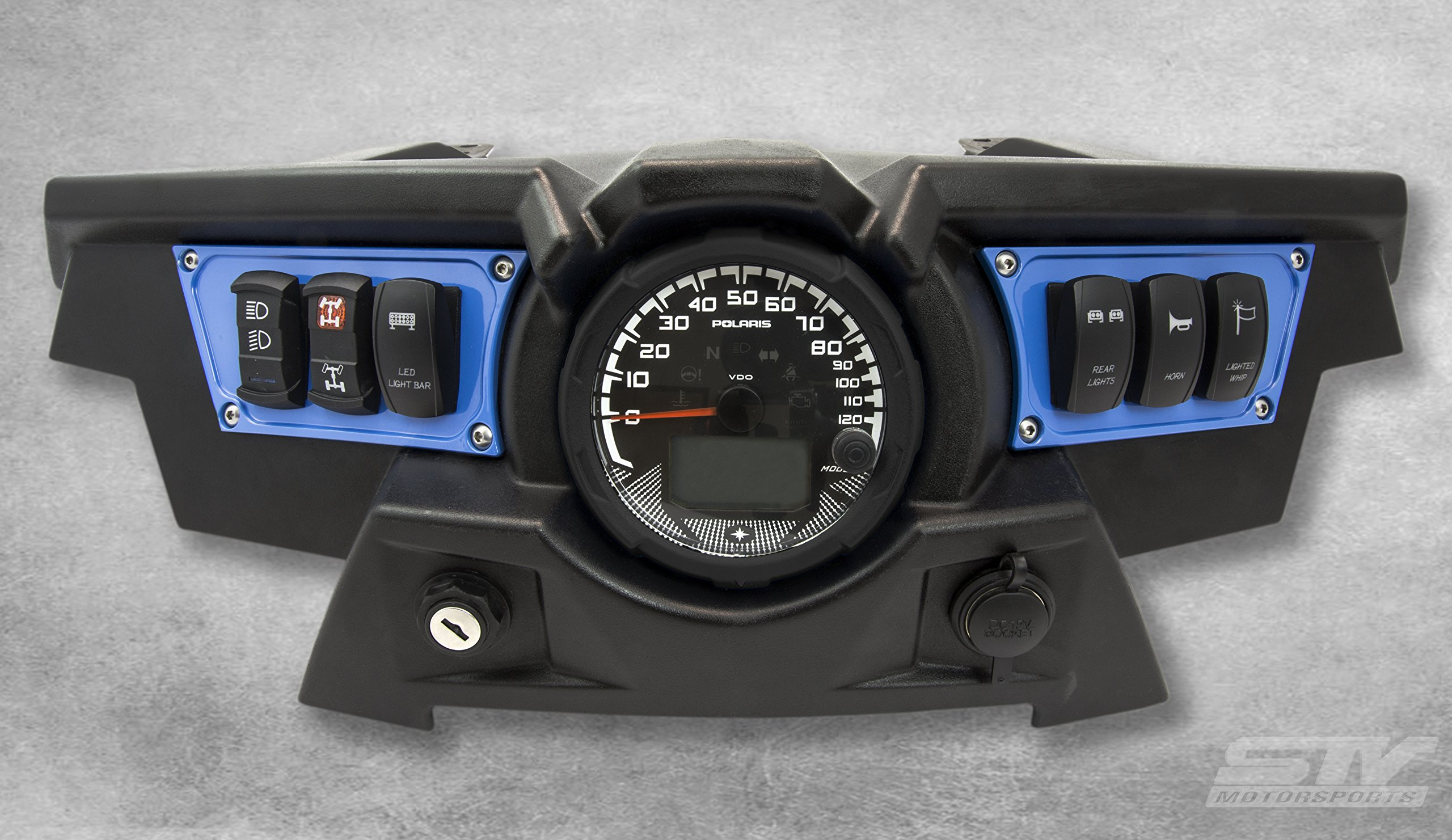STV Motorsports Custom Aluminum Blue Dash Panel for 2015-2018 Polaris RZR XP 900 with 4 Laser Rocker Switches Included