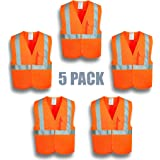 XSHIELD XS0003,High Visibility Safety Vest with Silver Stripe,ANSI/ISEA 107-2015 Type R Class2 Not FR,Pack of 5 (XL, Orange)