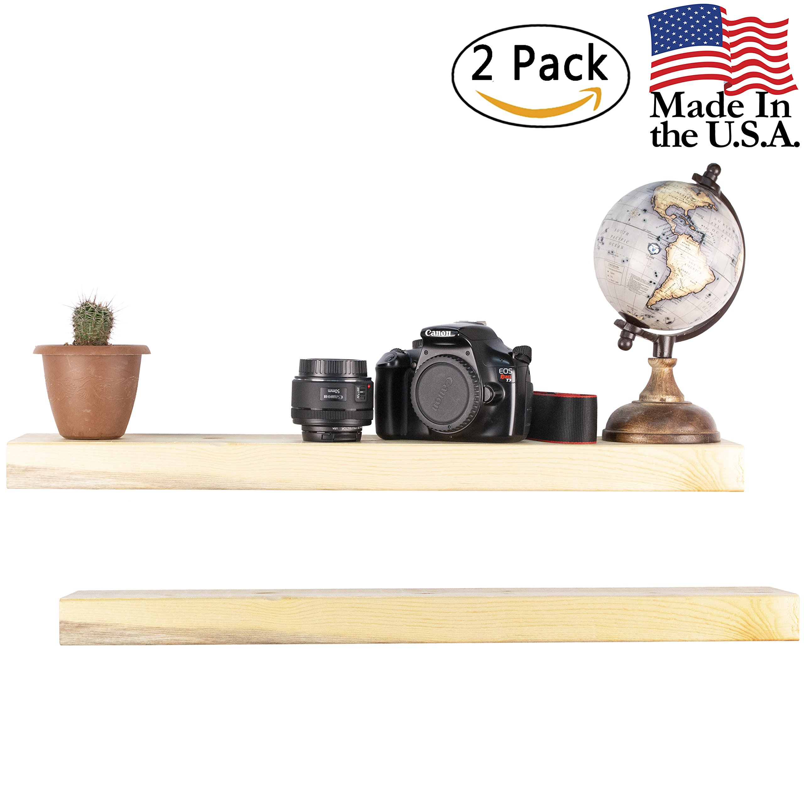 Floating Shelves Wall Mounted Shelf - Rustic Wood Decor Hanging for Bathroom Kitchen Bedrooms Living Room or Office Walls - Sturdy & Decorative Shelving Storage Rack - USA Made - 2 FT. Natural 2-Pack
