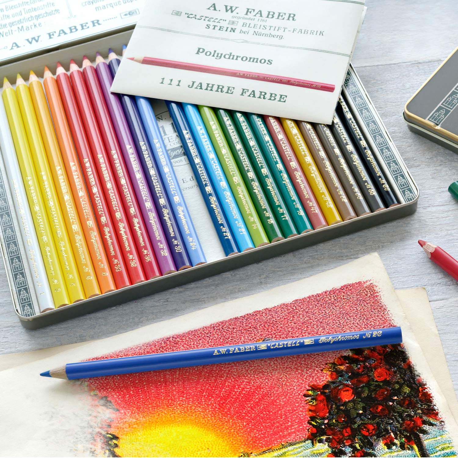 Faber-Castell Polychromos 111th Anniversary Limited Edition Wood Colored Pencil Tin - 12 Colors by Faber-Castell (Image #6)