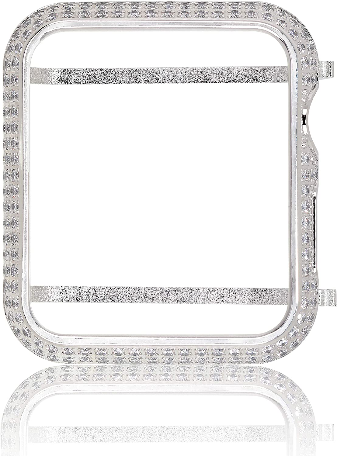 Hiseanllo Rhinestone Inlaid Watch Cover Protective Case Compatible with iWatch Apple Watch Series 1, Series 2, Series 3 - Silver(42mm)