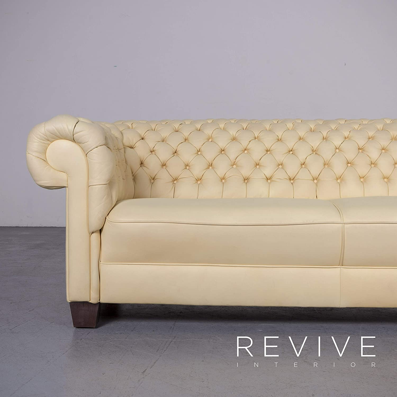 Amazon Com Chesterfield Designer Leder Sofa Creme Echtleder