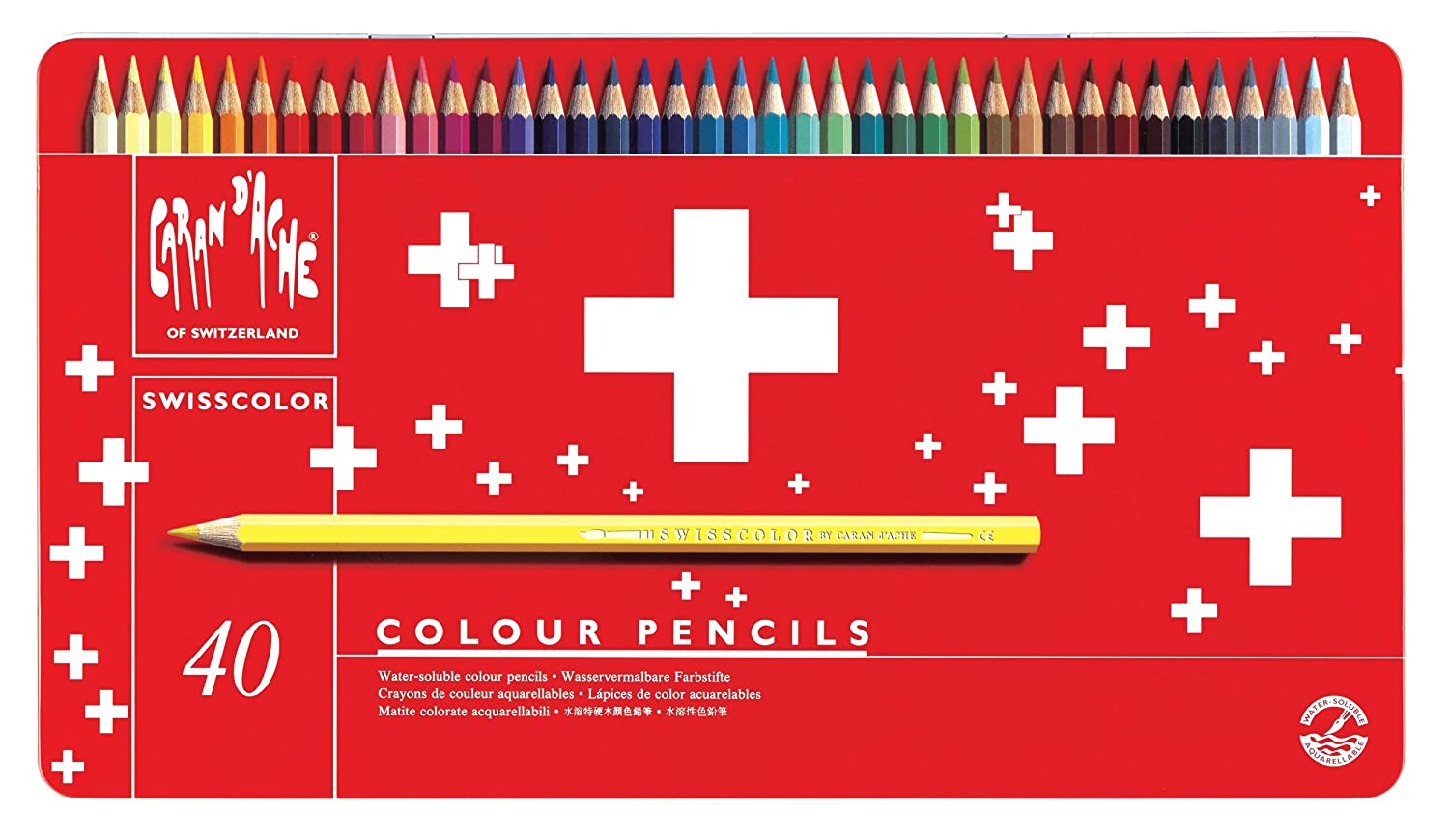 Caran D'ache Swisscolor Colour Pencils in Metal Box (Pack of 40) Caran d'Ache 1285.740 reikos_0019522742AM_0003115