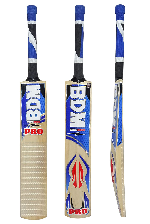 Bdm Pro Multi Choose Weight Piece Cane Handle Kashmir Willow Wood Cricket Bat Carry Case Adult Size