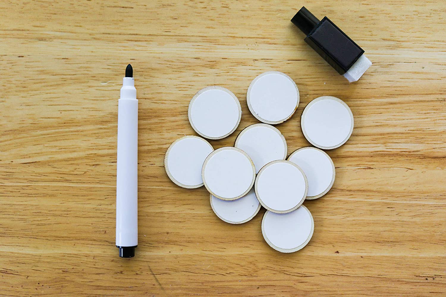 Pack of 22 Dry Erase Wooden Cards Tokens Reusable