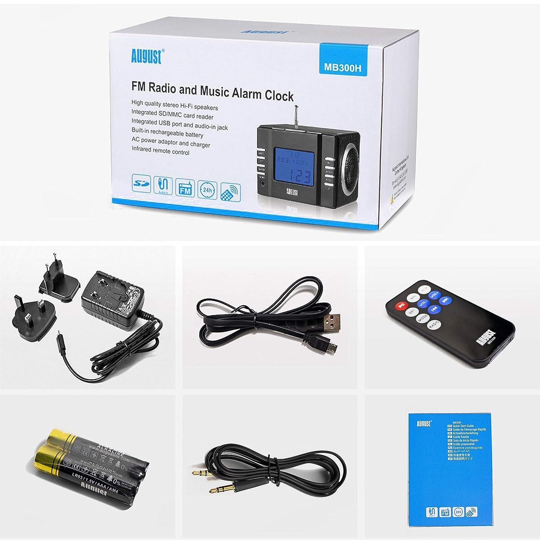 reproductor MP3 con lector de tarjetas SD USB y conexi/ón auxiliar Radio FM MP3 y alarma despertador color plata August MB300