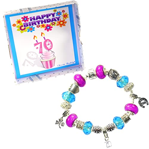 269bdb920 Image Unavailable. Image not available for. Color: Charm Buddy 60th  Birthday Good Luck Lucky Blue Hot Pink Pandora Style Bracelet With Charms  Gift