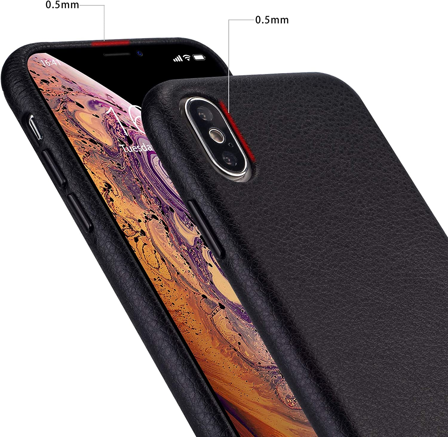 rejazz iPhone x Case iPhone Xs Case Anti-Scratch iPhone x Cover iPhone Xs Cover Genuine Leather Apple iPhone Cases for iPhone x/xs (5.8 Inch)(Black)