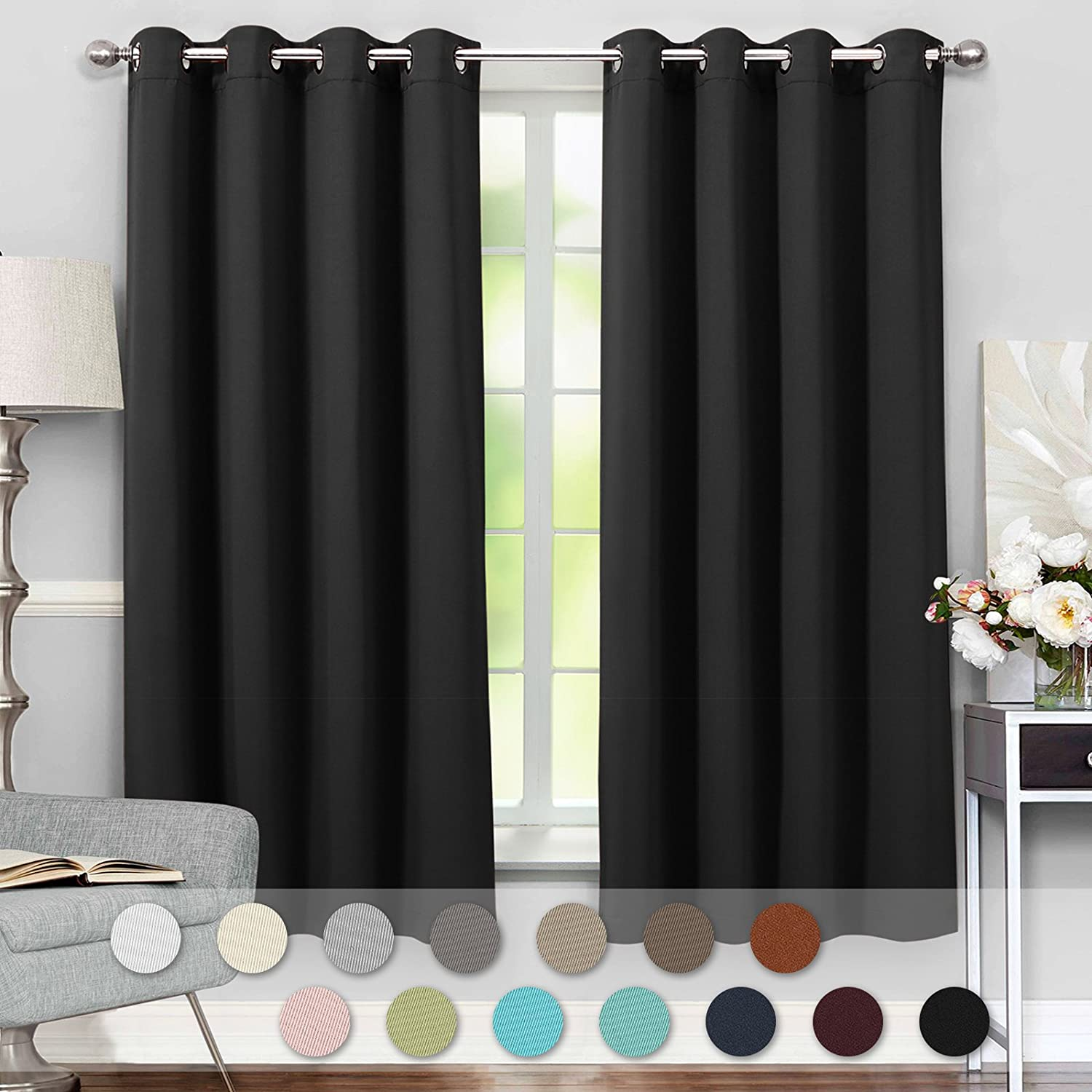 VEEYOO Modern Style Blackout Curtains Grommet Top Thermal Insulated Curtains and Drapes with Tiebacks for Living Room and Bedroom, 2 Panels, 52 W x 63 L, Beige 52 W x 63 L VYCL17001PS63CP1S5-FBA