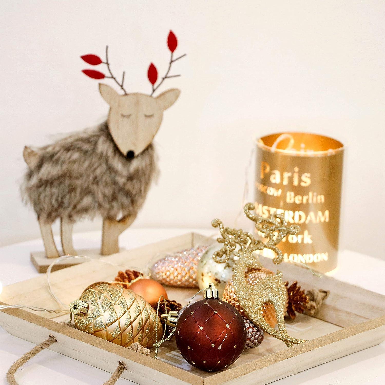 Valery Madelyn 100 Piezas Bolas de Navidad de 3-8cm, Adornos  (Cobre Dorado) 5