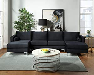 GAOPAN Modern Upholstered Soft Velvet Fabric 4 Seater U-Shape Sectional Sofa Set with Two Pillows and Double Extra Wide Chaise Lounge Couch for Home Conversation & Living Room Furniture,Black