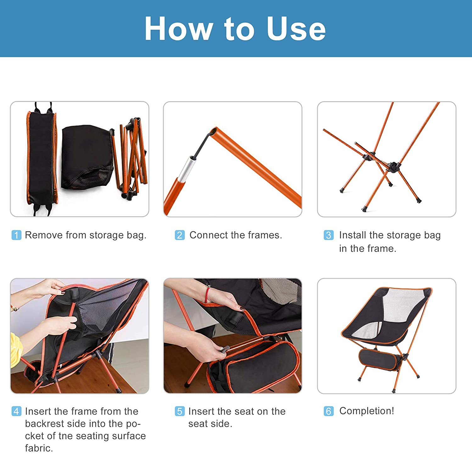 Park ARTEESOL Camping Chair Camping BBQ Portable Compact Lightweight Folding Chair with Carry Bag 150kg Capacity for Outdoor Activities Beach.