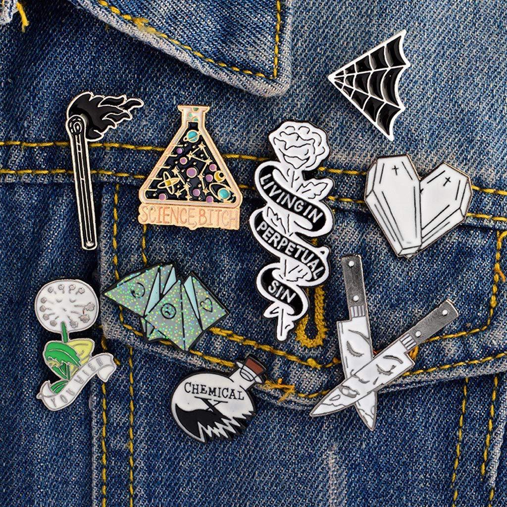 Upupo Science Chemical Bottle Cobweb, Rose Knife Shape Brooch Pin, Cartoon Button Badges - - Amazon.com