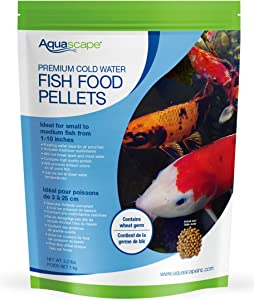 Aquascape 98871 Cold Water Premium Staple Koi and Pond Fish Food Pellets, 2.2-Pound, Brown