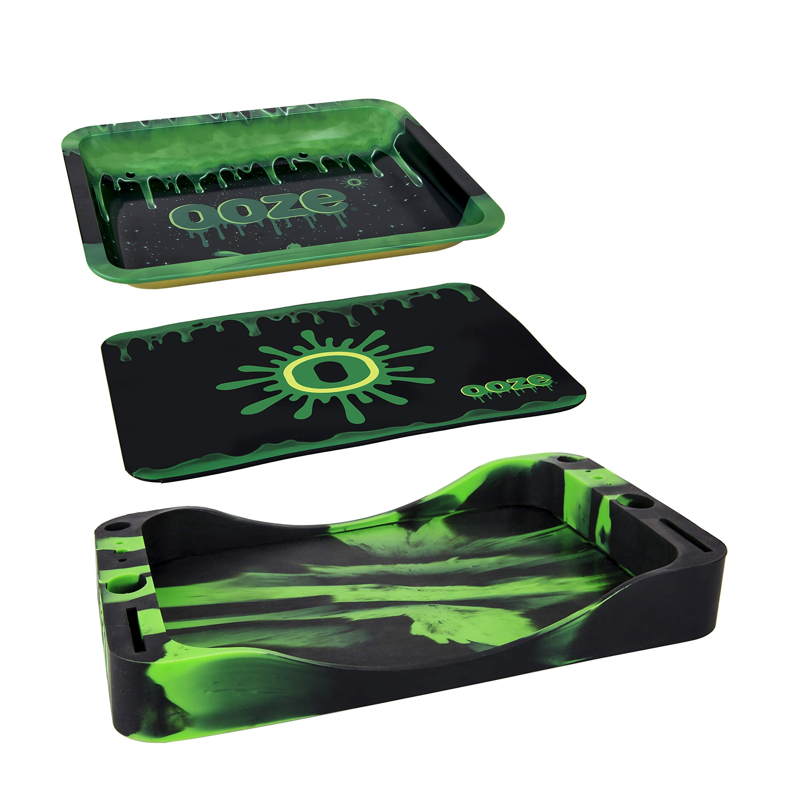 Ooze Dab Depot - 3-in-1 Bundle Set - Metal Rolling Tray, Silicone Tray, and Platinum Cured Mat by Ooze