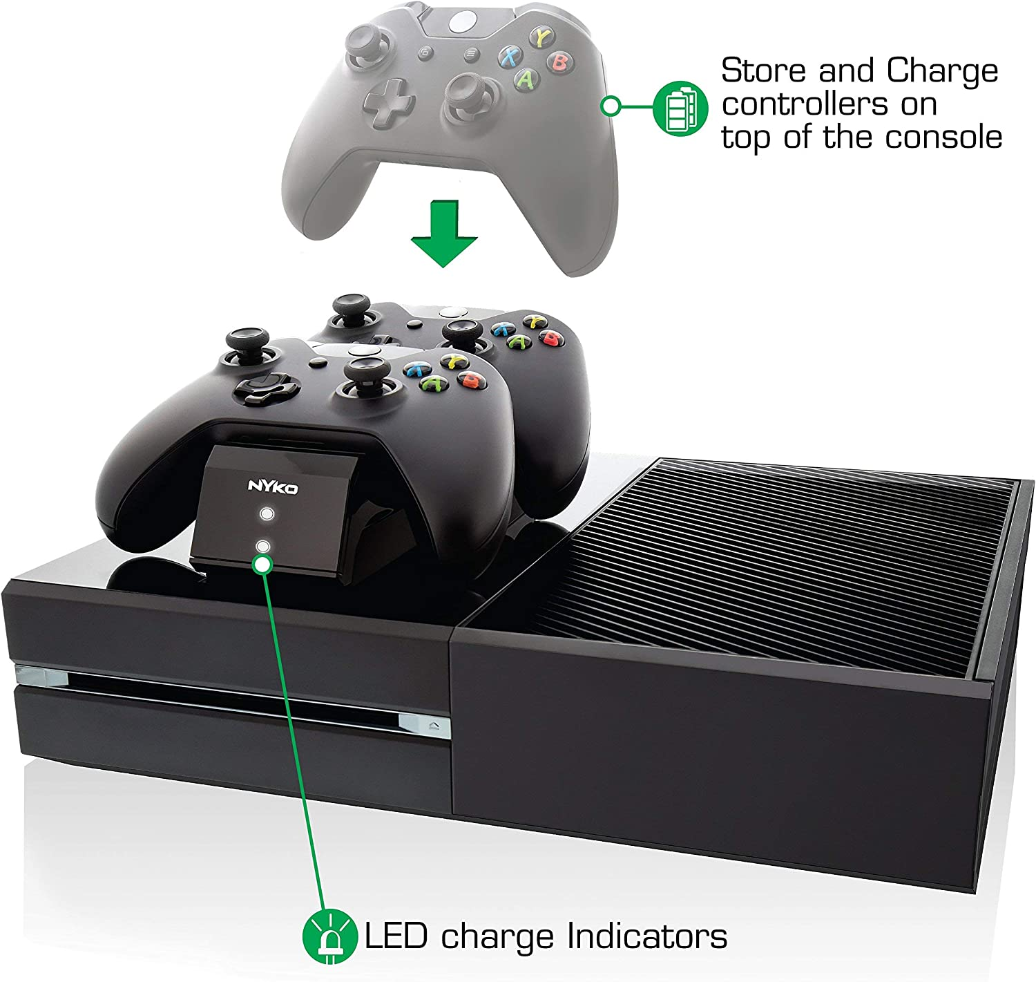 Nyko Modular Charge Station 2 Port Controller Charging Station with 2 Rechargeable Battery Packs for Xbox One Renewed