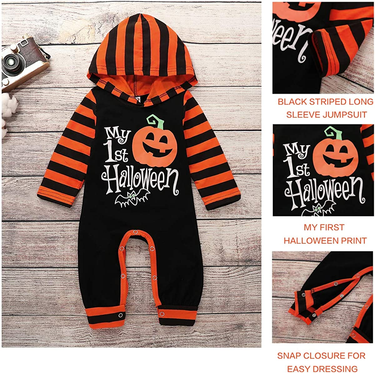 NZRVAWS Infant Baby Boy Jumpsuit My First Halloween Romper One-Piece Long Sleeve Bodysuit Cotton Clothes Outfit