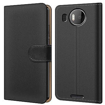Conie Handytasche für Microsoft Lumia 950 XL Cover Schutzhülle im Bookstyle aufklappbare Hülle aus PU Leder Farbe: Schwarz