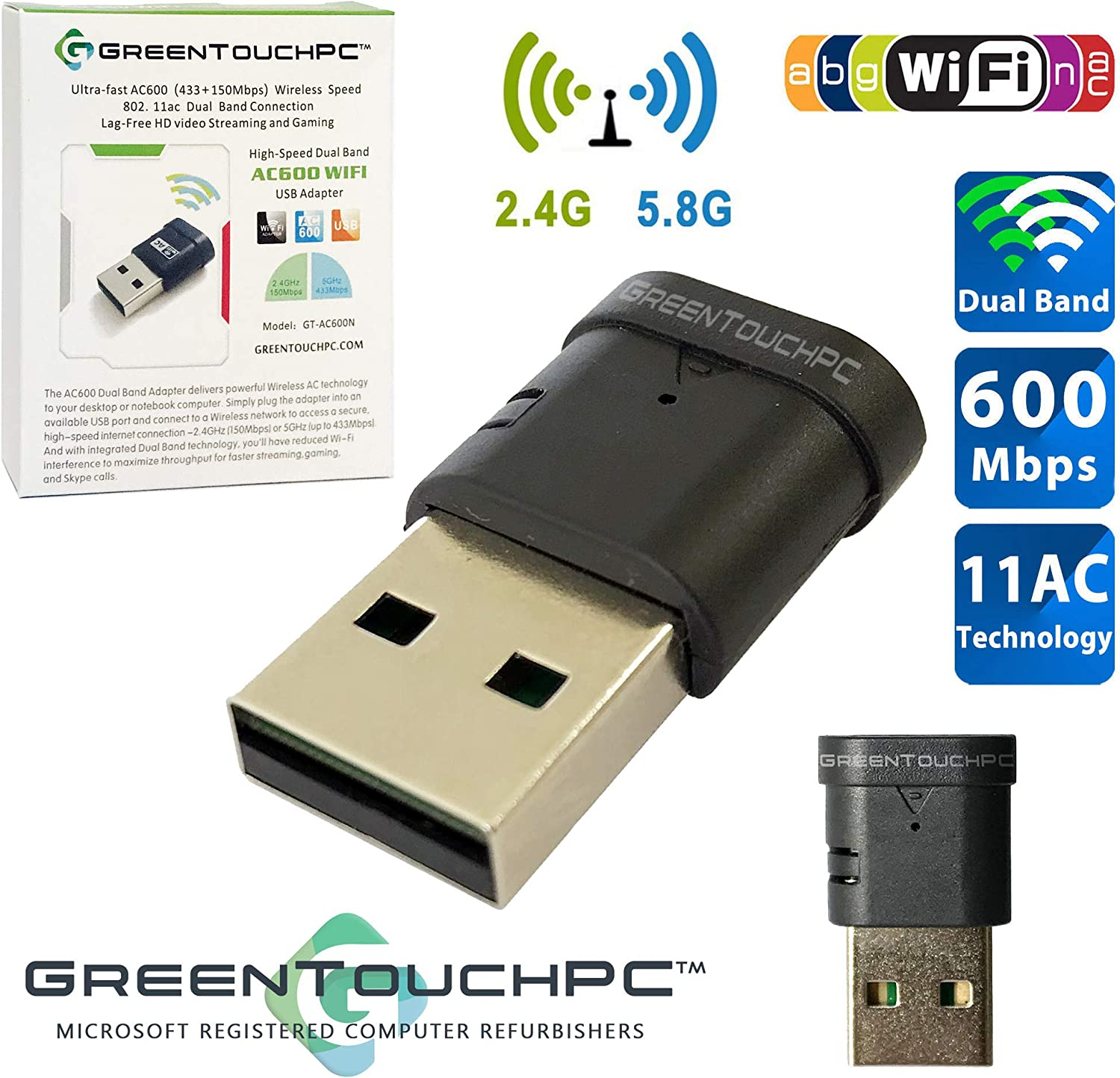 GREENTOUCHPC AC600 802.11ac HighSpeed DualBand USB WiFi Adapter 2.4GHz/5GHz 600Mbps Wireless Network Nano Dongle for Desktop Computer PC Laptop (Compatible Windows XP/7/8/10/Vista, MacOS 10.9 and up)