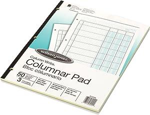 "Wilson Jones Columnar Pad, ColumnWrite, 8-1/2"" x 11"", 3 Columns, 50 Sheets per Pad (WG7203A)"