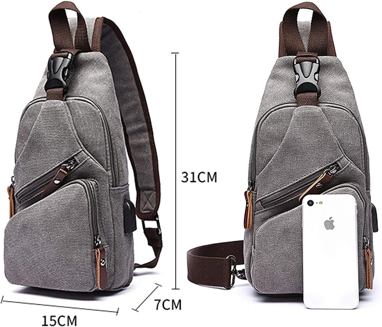 fanfanbags Sling Bag Bolsos Cruzada Bolsa de Pecho para Hombre de carga USB Lona Crossbody Ciclismo Mochila Peque/ñas