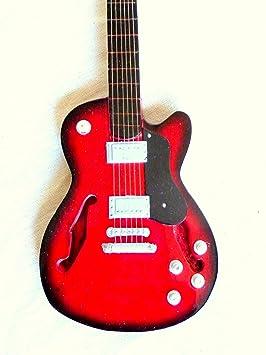Guitarra en miniatura decorativa Guitarra Guitar Gibson verde 24 cm mano de madera # 134