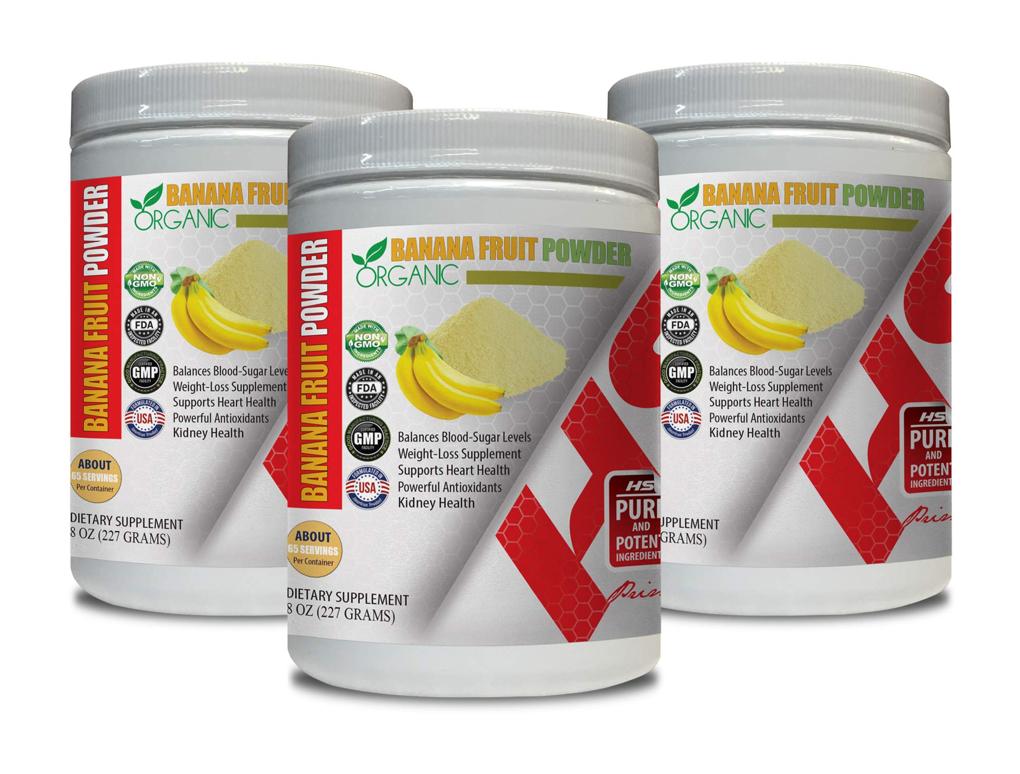 Blood Pressure Supplements Best Seller - Banana Fruit Organic Powder - Digestive Supplements - 3 Cans 24 OZ (195 Servings)