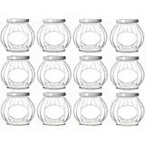 Nakpunar 12 pcs 8 oz Round Faceted Glass Jars with White Lids (8 oz, White)