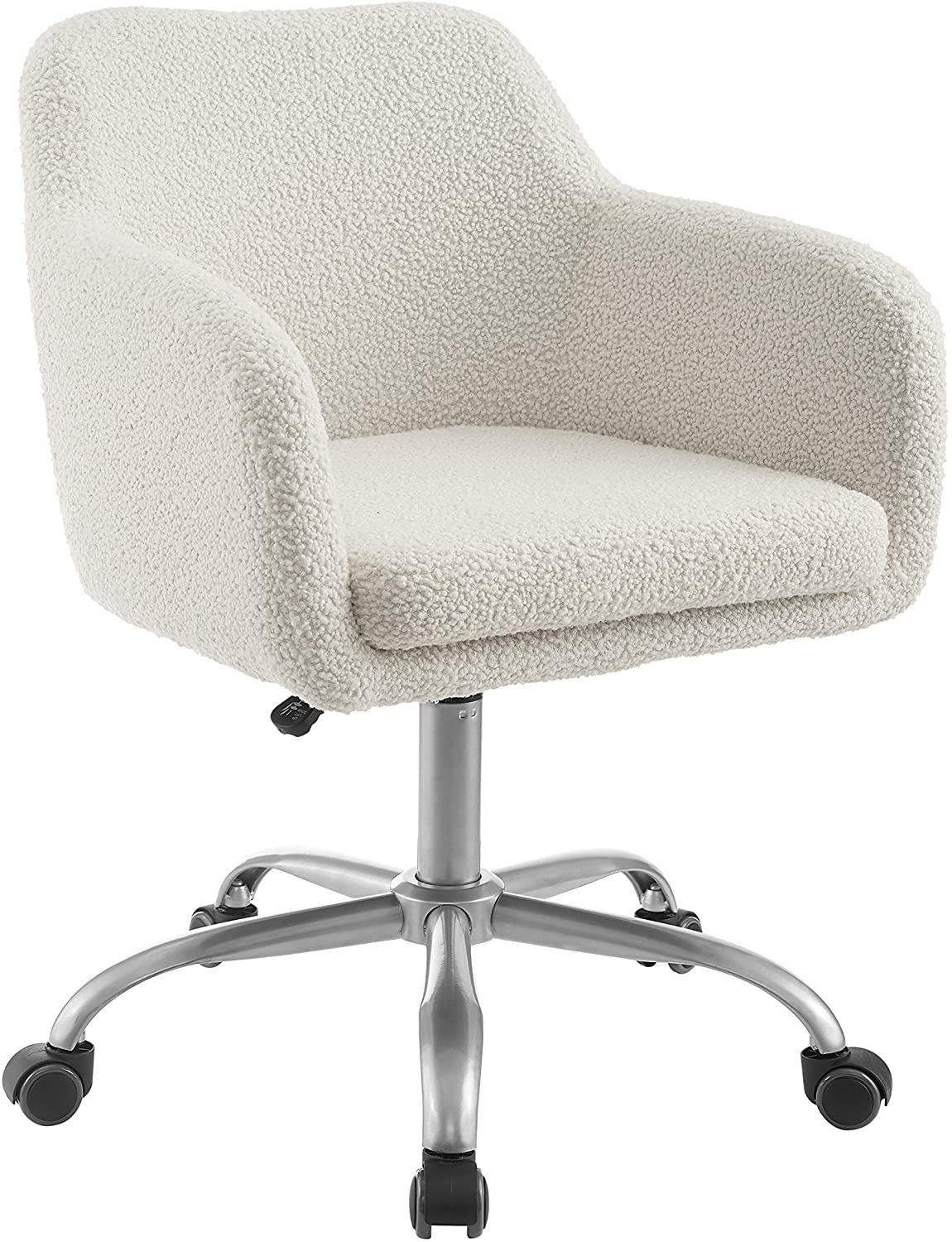 Linon Home Decor Products Linon Brooklyn Sherpa Office Chair, Ivory