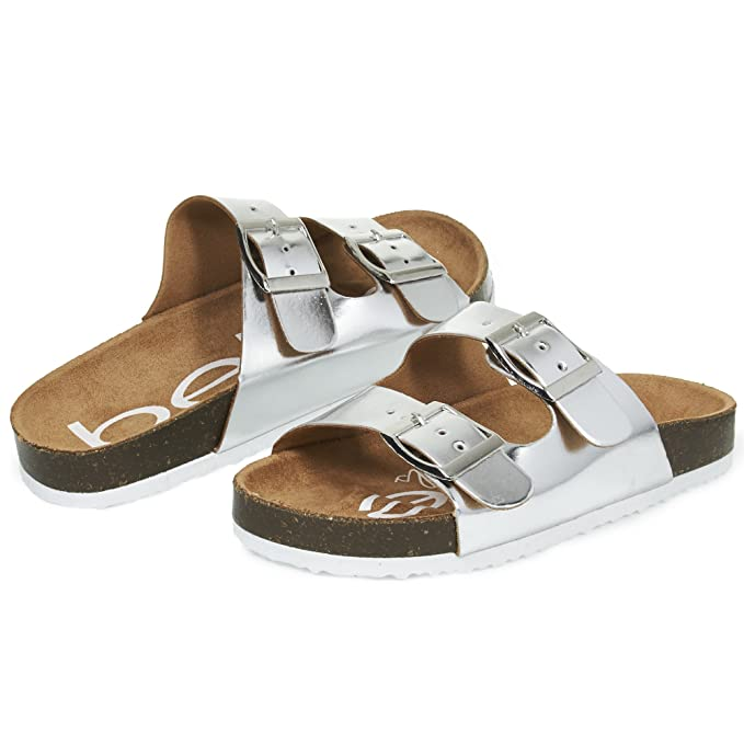 05be0b613e95 bebe Girls Big Kid Two Buckle Strap Cork Footbed Slide Sandals Size 11  Silver