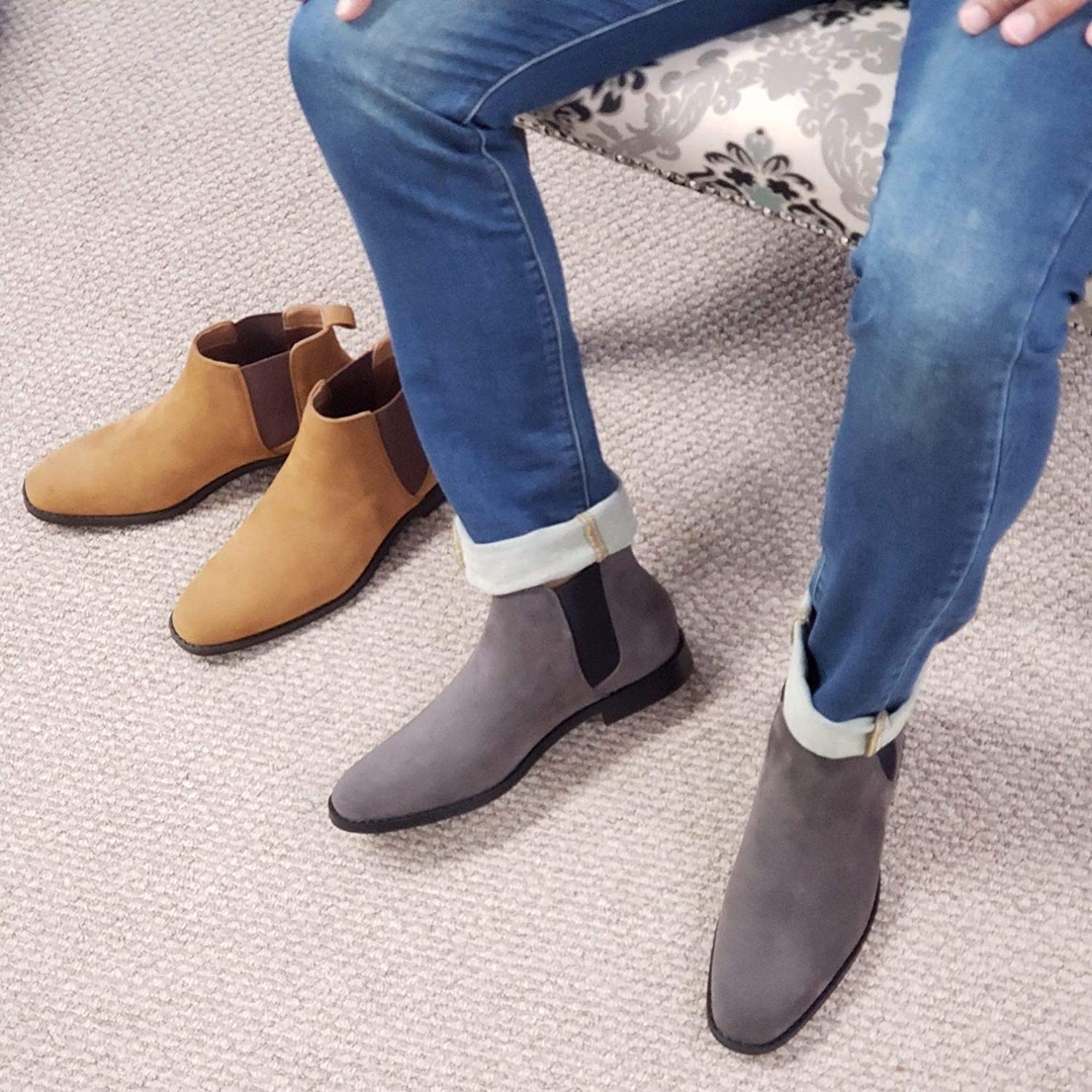 Mens B-2963 Chuck Nubuck Suede Pull-On Round Toe Chelsea Boots