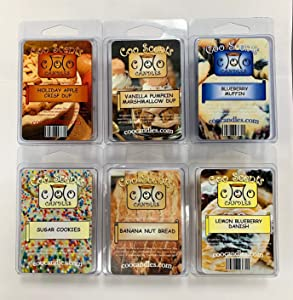 6 Pack Soy Wickless Candle Wax Bar Melts - Yummy Food or Bakery Scents. Holiday Apple Crisp Dup, Blueberry Muffin, Vanilla Pump Marshmallow Dup, Banana Nut Bread, Sugar Cookie, Lemon Blueberry Danish
