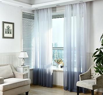 Nibesser Transparent Farbverlauf Gardine Vorhang Schlaufenschal Deko Für Wohnzimmer  Schlafzimmer 2 Stück (2er Set 245cmx140cm, Weiß Und Grün) ...