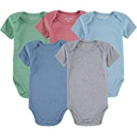 Wan-A-Beez 5 Pack Baby Girls' and Boys' Newborn and Infant Cotton Short Sleeve Bodysuits