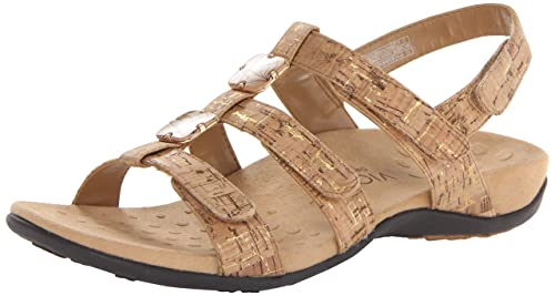 61df594e6f151 Vionic Orthaheel Amber - Womens Slide Sandal Gold Cork - 5 Medium