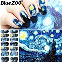 BlueZOO 2 Sheet Beauty Full Nail Stickers Adhesive Nail Wraps Van Gogh's Starry Night Manicure Vinyls Nails Stickers and Decals