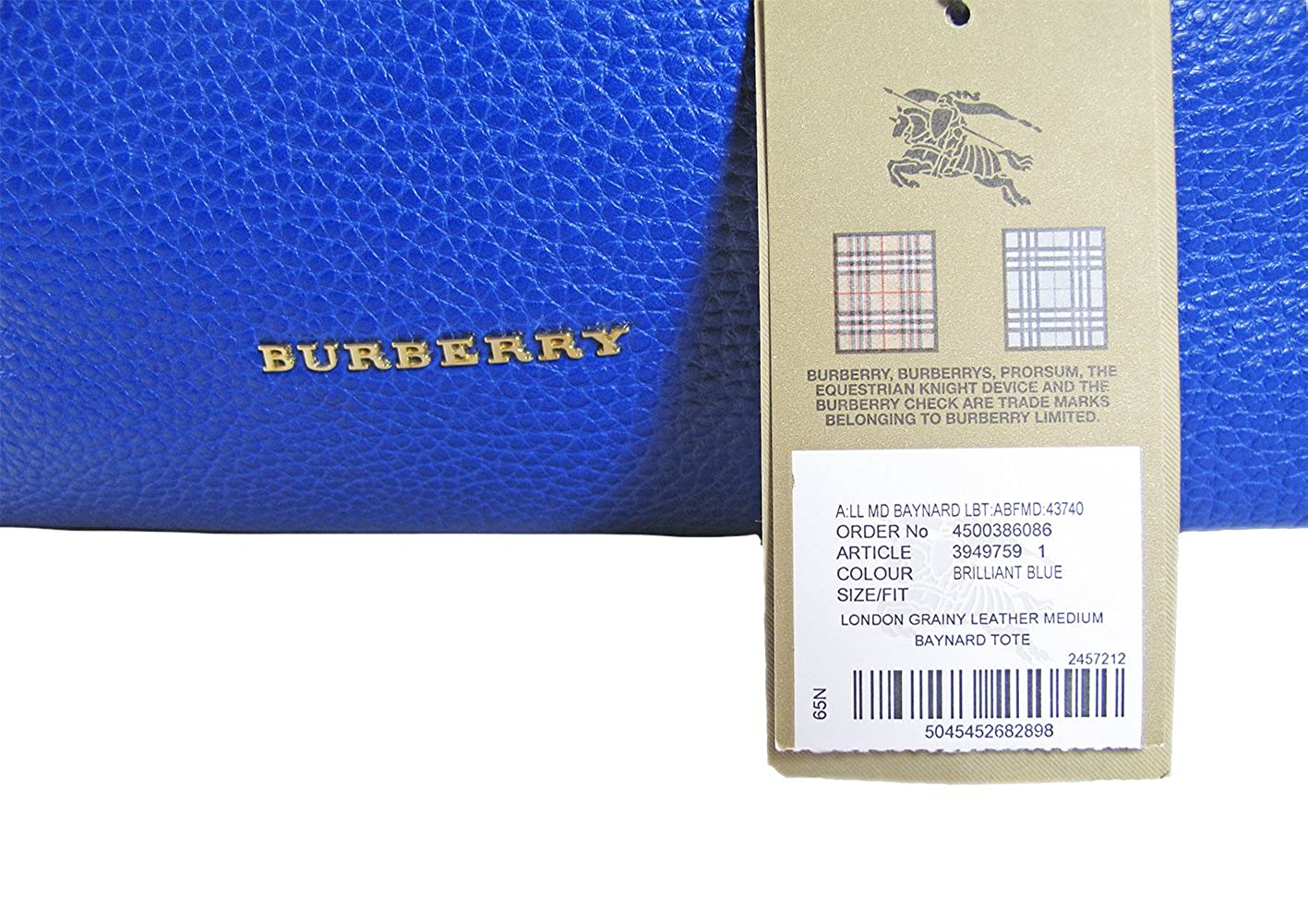 813aa31ffb1b Burberry Women s Brilliant Blue Baynard Grained Leather Top Handle Handbah  Purse  Handbags  Amazon.com