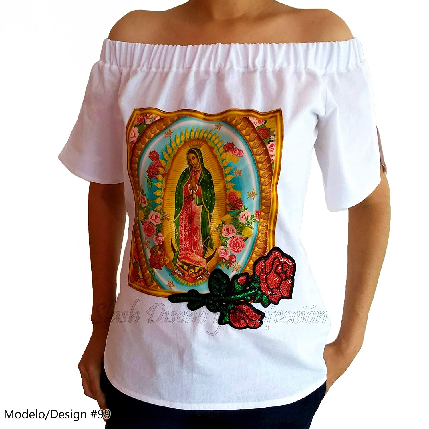 Guadalupana Blouse Raw Coarse Cotton Fabric Manta Virgin of Guadalupe Virgin Maria Mexican Custom Tailored Plus Size Handmade
