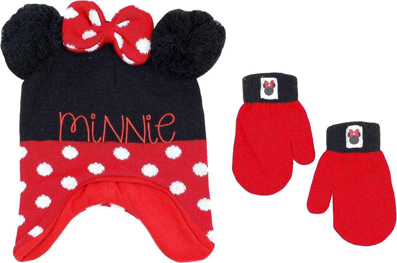 Minnie Mouse Baby Girls Toddler Winter Hat /& Mitten Set