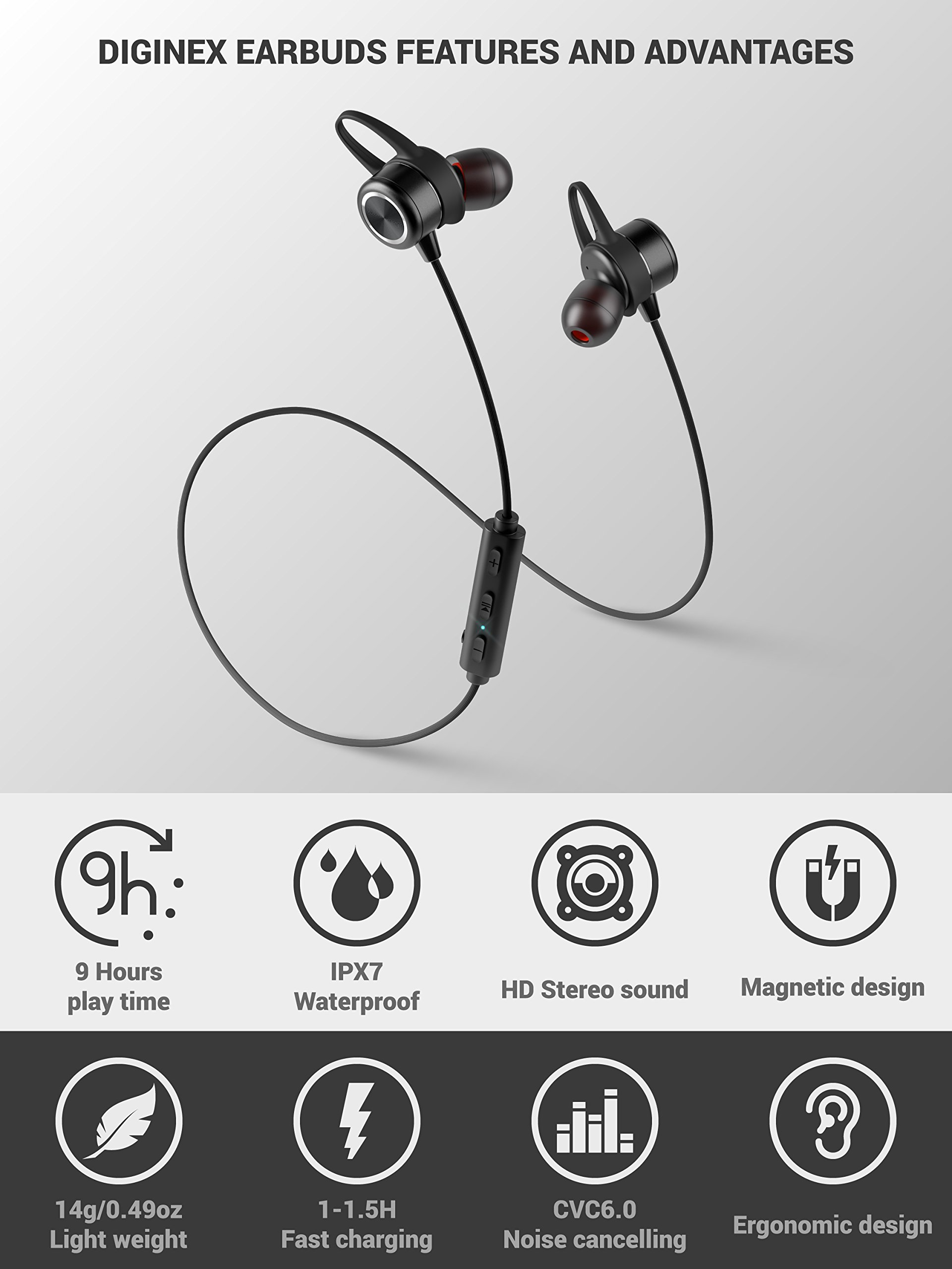 Diginex Bluetooth Earbuds Wireless Magnetic Headset Sport Earphones for Running IPX7 Waterproof Headphones 9 Hours Playtime High Fidelity Stereo Sound and Noise Cancelling Mic 1 Hour Recharge – Black by Diginex (Image #2)