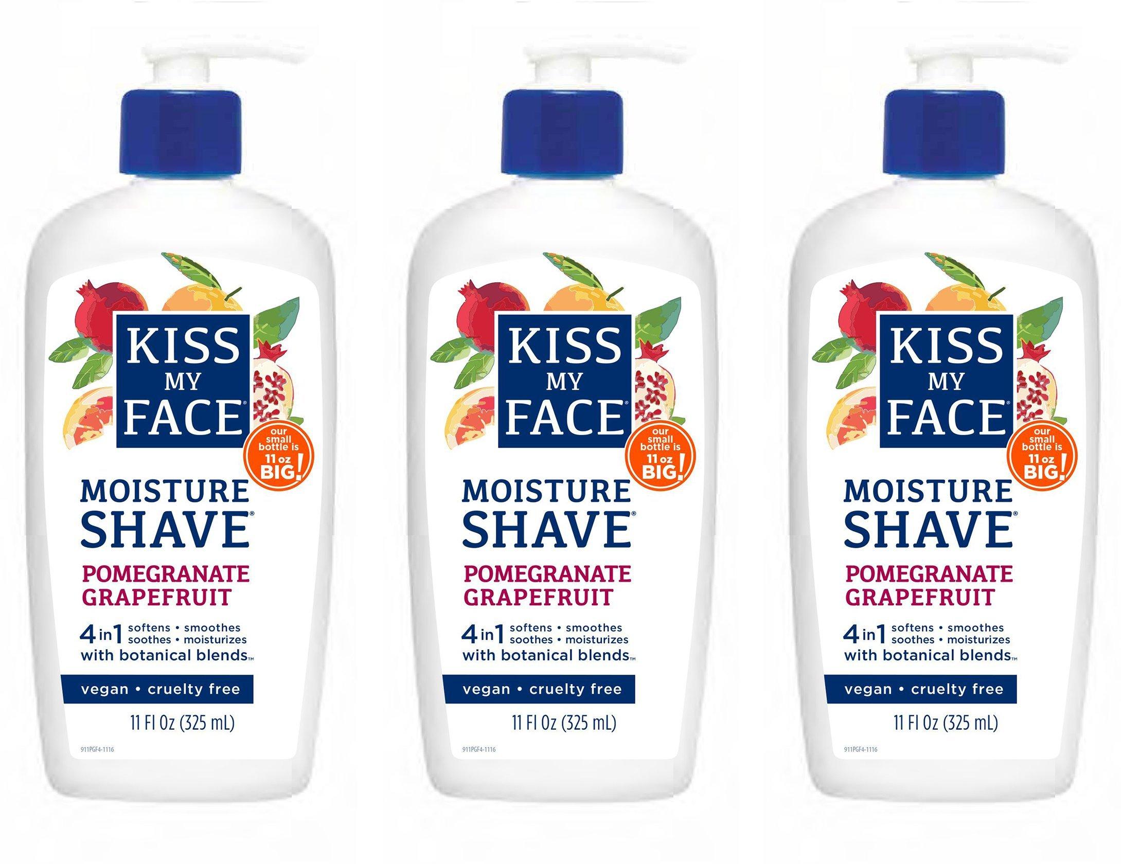 Kiss My Face Signature Bundles Moisture Shave Shaving Cream, Pomegranate Grapefruit Shaving Soap, 11oz, 3 Count