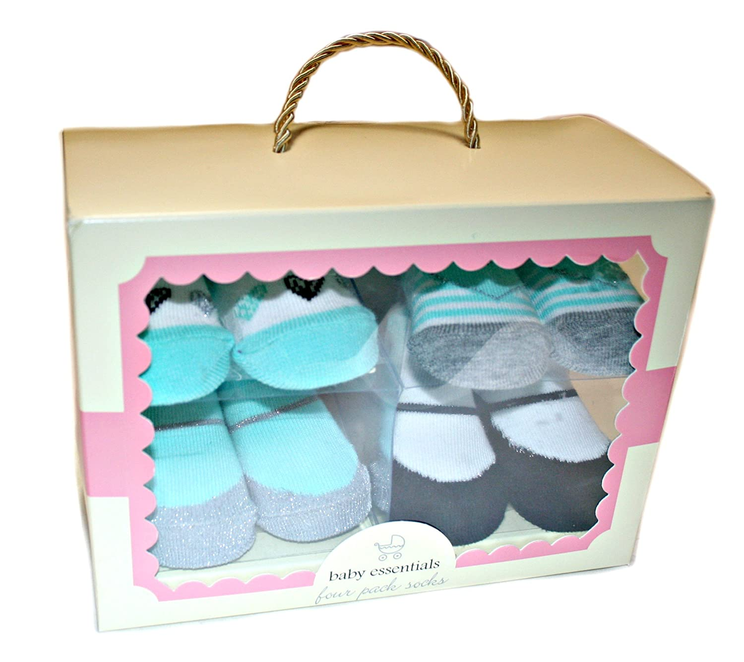 Amazon Com Baby Essentials Four Pack Socks Baby Girl 0 6m Clothing