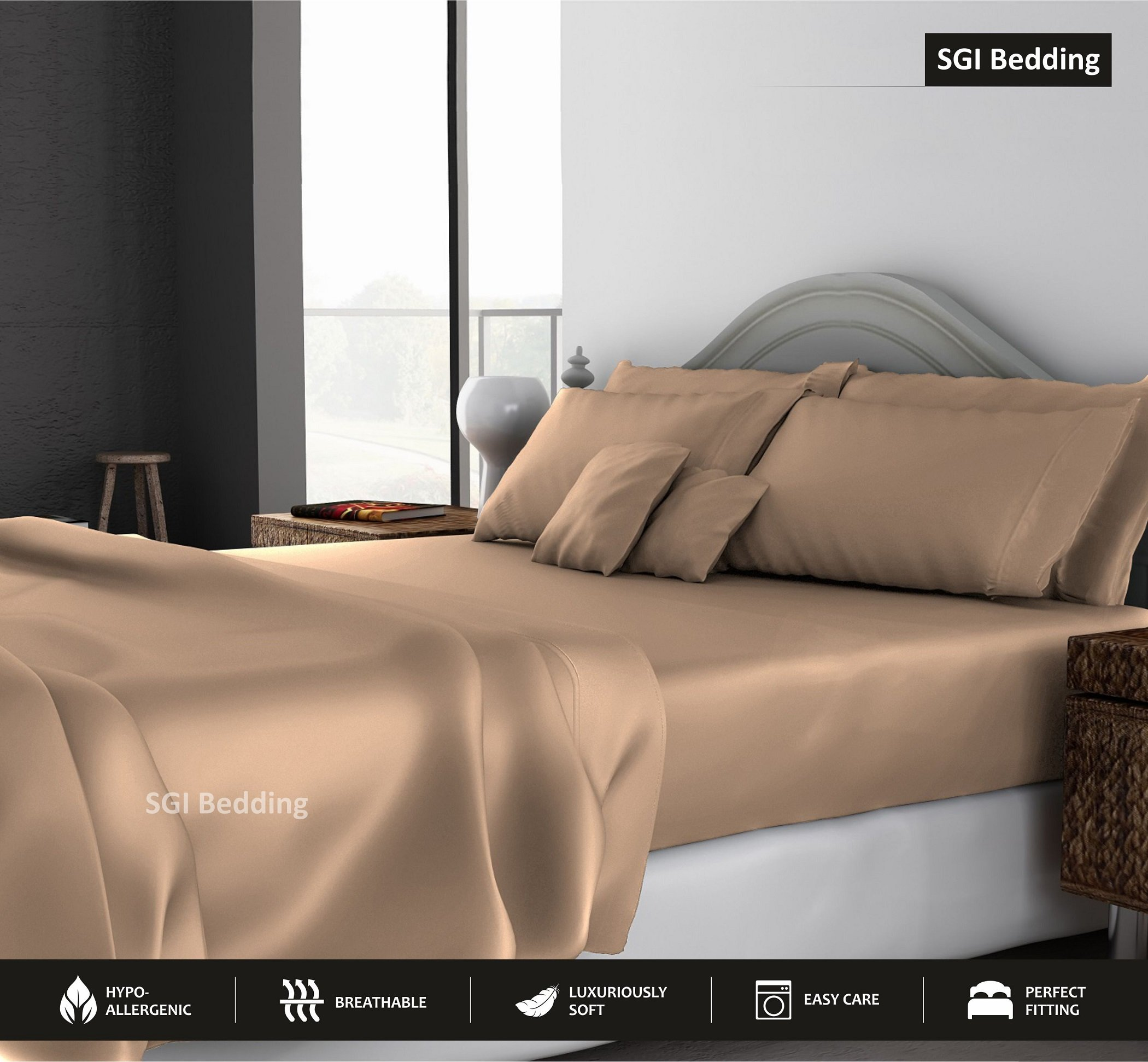 SGI bedding Queen Sheets Luxury Soft 100% Egyptian Cotton -Classic Collection Bed Sheet Set for Queen Mattress Taupe Solid 1000 Thread Count Deep Pocket