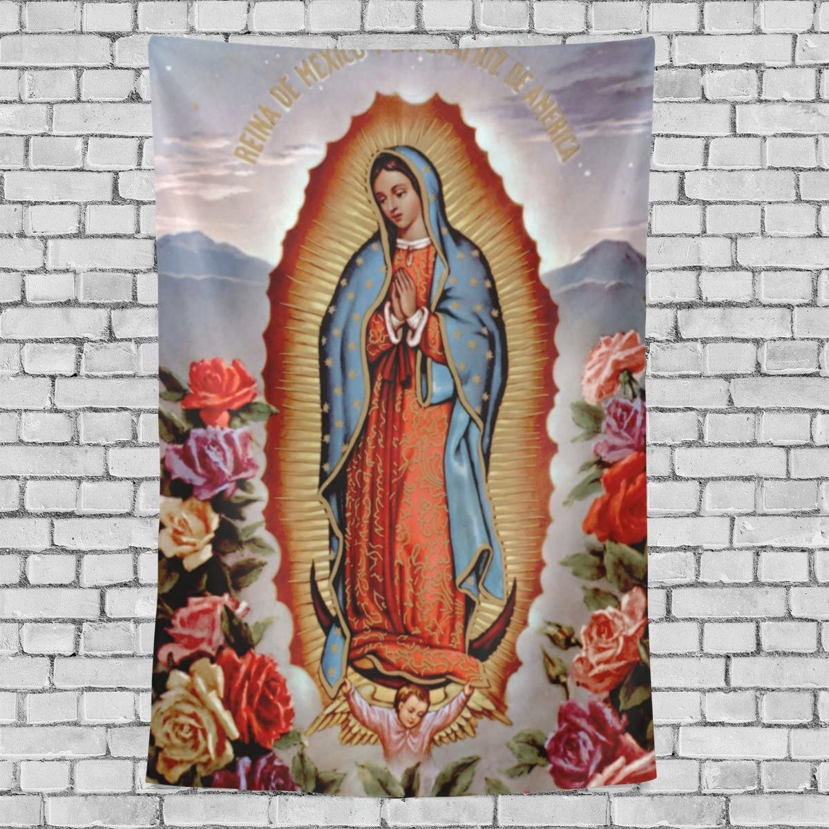 Donnapink Wall Tapestry Holly Mary Blessed Virgin Mary Our Lady of Guadalupe Mother of God 40