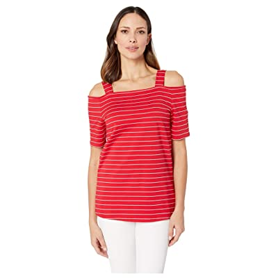 FDJ French Dressing Jeans Women's Mini French Terry Stripe Off Shoulder Top with Straps at Women's Clothing store