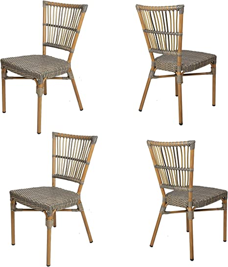 Amazon Com Luckyermore Wicker Dining Chair Set Of 4 Patio Lawn Backyard Cafe Chairs All Weather Outdoor Lightweight Armless Chair Kitchen Dining