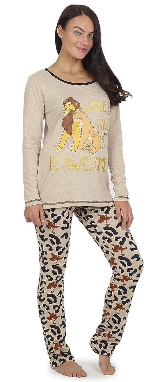 Pigiami Due Pezzi Donna con Maglietta Super Morbida a Manica Lunga e Pantaloni Joggers Pigiama Adulti Il Re Leone Disney Set Pigiama con Stampa Il Re Leone