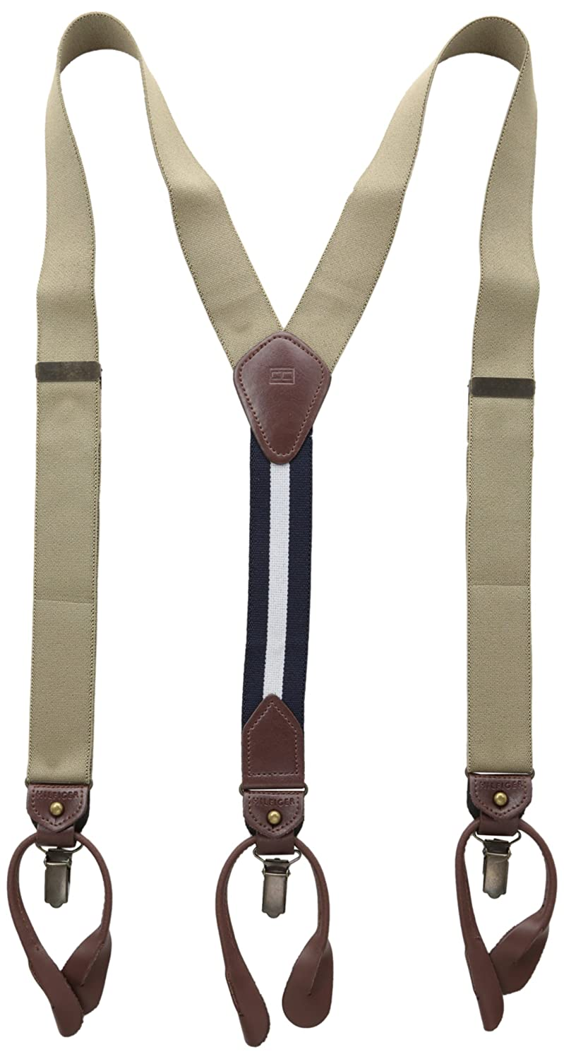 Button End and Strap Tommy Hilfiger Mens 32mm Suspender With Convertible Clip
